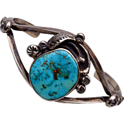 American Indian DS Sterling and Turquoise Cuff Bracelet