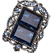 Blue Molded Glass and Rhinestone Brooch or Pendant