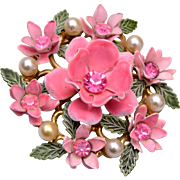 Lisner Pink Enameled Flower With Faux Pearl Brooch