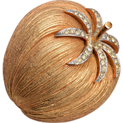 Corocraft Rhinestone Pumpkin Brooch