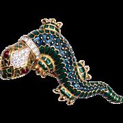 KJL Enameled and Rhinestone Lizard Brooch