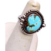 Sterling and Turquoise Stone Ring Size 6s