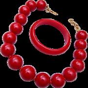 Red Bakelite Bangle Bracelet