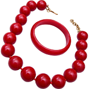 Red Bakelite Bangle Bracelet and Necklace Set