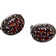 Sterling, Garnet and Marcasite Earrings