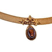 Florenza Cameo and Mesh Choker Necklace