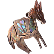 APS Sterling and Abalone shell Donkey Brooch