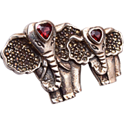 Sterling and Marcasite Elephant Brooch with Garnet Hearts