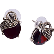 Garnet, Sterling and Marcasite Pierced Earrings
