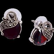 Garnet, Sterling and Marcasite Pierced Earrings