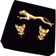 Jackie Collins Panther Brooch and Earring Set in Original Box