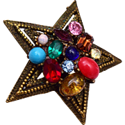 Coro Colorful Star Brooch