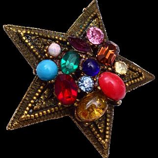 Coro Colorful Star Brooch