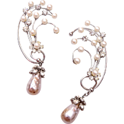 Dangling Pearl and Rhinestone Cuff Earrings