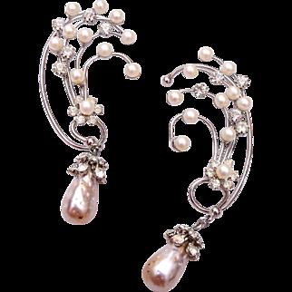 Dangling Pearl and Rhinestone Cuff Earrings