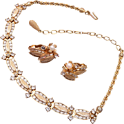 Pennino Rhinestone Necklace and Earring Set