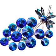 Weiss Blue Rivoli Rhinestone Brooch