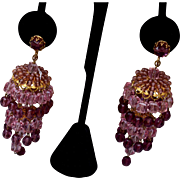Purple Crystal Chandelier Earrings