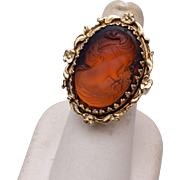 Whiting and Davis Brown Glass Cameo Ring