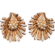 Boucher Clam Shell and Faux Pearl Earrings