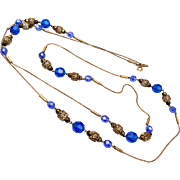 Blue Faceted Crystal and Filigree Necklace