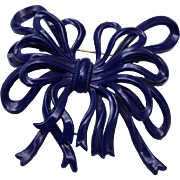 Blue Celluloid Bow Brooch
