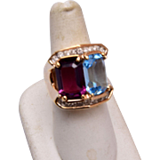18kt HGE Purple and Blue Stone Ring Size 9