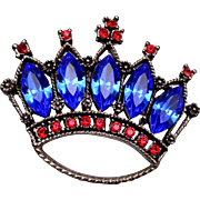 Weiss Blue and Red Crown Brooch