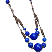 Blue Glass and Brass Necklace