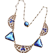 Blue Crystal and Enamel Necklace
