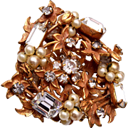 Original by Robert Faux Pearl and Rhinestone Brooch