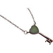 Sterling Key With Jade Top