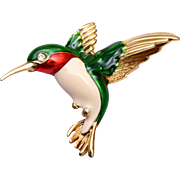 Gerry's Hummingbird Enameled Brooch