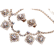 AB Rhinestone Necklace and Earrings Set