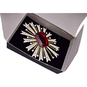 KJL Shimmering Rhinestone Brooch with Red Stone in Original Box
