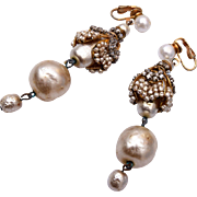 """Miriam Haskell Champagne Baroque Pearl 3"""" Danging Earrings"""