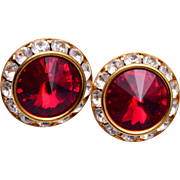 Red Rivoli Crystal Pierced Earrings