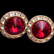 Red Rivoli Crystal Pierced Earrings