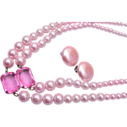 Chain Strung Pink 2-Strand Faux Pearl Necklace and Earring Set