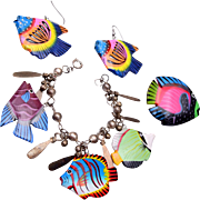 Painted Fish Charm Bracelet, Brooch and Earring Set