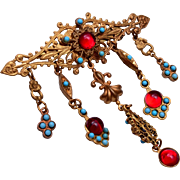 Red Jelly and Turquoise Brooch