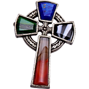 Miracle Britain Glass Cross Pendant or Brooch
