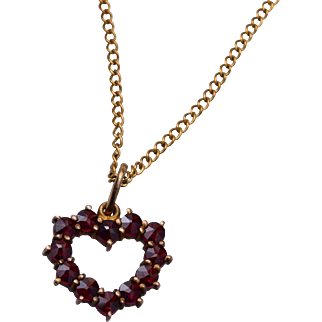 Rose Cut Garnet Heart Necklace