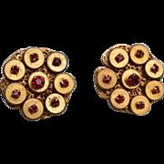 Josef Morton Red Stone Earrings