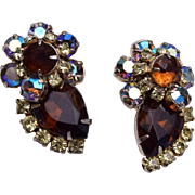 Brown and AB Rhinestone Earrings