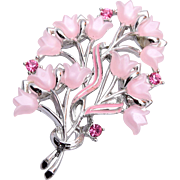 STAR Molded lucite Tulips and Pink Rhinestone Brooch