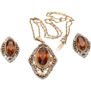 Whiting and Davis Topaz Necklace and Earring Set
