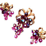 Pink and Purple Grape Cluster Brooch and Earring Set