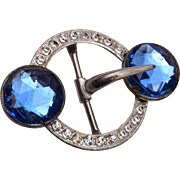 Beautiful Rose Cut Blue Rhinestone Buckle