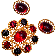 Emmons Red and Black Jelly Brooch and Earring Set